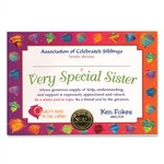 Very Special Sister Award Certificates
