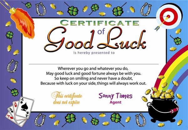 Certificate Of Good Luck Award Certificates (6 Certificates/Pkg ...