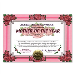 Mother Of The Year Award Certificates