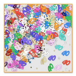 Add lots of color to a 40th birthday by decorating with the 40th Birthday Confetti. The 40th Birthday Confetti is a fun decoration that can be sprinkled on tables or other flat surfaces.