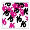 Black and Cerise Sweet 16 Confetti