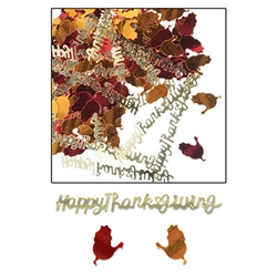 This metallic confetti is a mix of foil turkey silhouettes and the words Happy Thanksgiving. Foil colors in gold, orange, and red will be a great accent to your Thanksgiving table. Each package contains a half ounce of confetti.