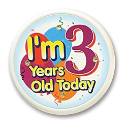 I'm 3 Years Old Today Flashing Button