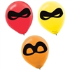 The Incredibles Balloons are an assortment of red, yellow, and orange balloons printed with a mask. They are helium quality latex balloons and measure 12 inches. Sold six (6) balloons per package.