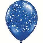 Blue latex balloon covered in a white star design, when fully inflated measures 11 inches tall. Perfect for accenting your awards night or Hollywood themed event. Sold in quantities of ten.