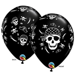 Pirate Skull Cross & Bones Latex Balloon feature various pirate icons printed in white against a black latex balloon. Fill with air or helium. Each balloon measures 11-inches when fully inflated. Sold in quantities of ten, priced per balloon.