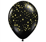 Black Latex Balloons with Gold Stars
