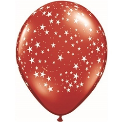 The Red Latex Balloon with White Stars - 11 inch is an elegant red latex balloon covered in a multitude of white stars, making the perfect decoration for any patriotic function! Must buy in quantities of 10. Also available in blue and white versions.