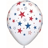 These white latex balloons are printed all over with an assortment of red, white, and blue stars making this the perfect accessory for an upcoming patriotic event. Measures 11 inches when fully inflated. Sold in quantities of 10.