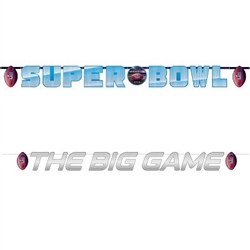 The Super Bowl 52 Banner Combo Pack contains two banners per package. One reads Super Bowl- measures 9 ft long and 10 in tall and the other reads The Big Game- measures 6 ft long and 4 in tall. Made of cardstock. Easy assembly. Cord Included.