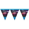 The Super Bowl 52 Pennant Banner is made of thin plastic and measures 10 1/2 inches tall and 12 feet long. Has 12 pennant flags. One per package.