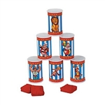 The Carnival Can Bean Bag Toss Game is a fun, classic carnival game that can be played by adults and children. Stack the plastic cans, and throw the bean bags at the cans to see who can topple the most! Game includes 6 cans and 3 bean bags.