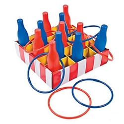 The Carnival Bottle Ring Toss Game is a classic carnival game that can be played by young and old alike. Simply set up the bottles and have your guests toss the rings and try to ensnare the bottles. Simple assembly required.