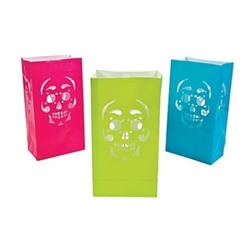 The Day of the Dead Luminary Bags are made of paper and measure 10 inches tall and 5 inches wide. Includes an assortment of pink, green, and blue bags with a cutout design of a skull. Contains 12 bags per package. Recommended for battery operated lights.