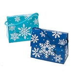 The Snowflake Tent Boxes with Handles are made of light and dark blue cardstock with a coordinated colored string handle. Measure 5 inches long by 2.5 inches wide by 4 inches tall. Contains 12 per package. Simple assembly required.