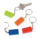 The Brick Key Chains are made of plastic and measure approx 1 inch long. Come in an assortment of vibrant colors including blue, green, orange and red. Contain 24 per package. For ages 3 and up.
