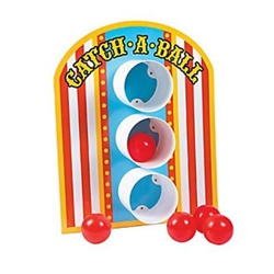 The Carnival Catch A Ball Game is perfect for any circus or carnival theme party. Tabletop game features 3 plastic tubes attached to a heavy duty backer board, and participants attempt to throw balls into the tubes. Includes 5 plastic balls.