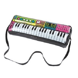 The Inflatable Keyboard is made of vinyl and when inflated measures 9 inches tall and 24 inches long. It's black and printed with vibrant and colorful knobs and dials that resembles an authentic instrument. Contains one (1) per package. No returns.