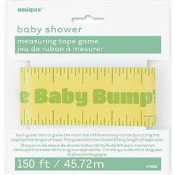 The Measuring Tape Baby Shower Game is a classic game for every baby shower. Guests cut this printed plastic tape to the length they believe mommy-to-be's belly size. Guest closest to the actual size wins! Package includes one 150 foot tape.