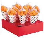 The Snack Cones with Tray - Rainbow feature red card stock serving trays which are designed to hold the included paper mini cones. Paper cones are printed in a  multi-color polka dot pattern. Perfect for carnivals or slumber parties! 40 cones per package.