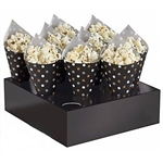 Snack Cones with Tray - Black feature black paper snack cones printed with a silver, gold, and white polka dot design. When assembled measures seven inches tall and includes trays to secure the cones for dispensing. 40 cones and two trays per package.