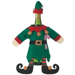 Two-piece green and red felt Elf costume fits easily over a standard 750 ml wine bottle. The body has 2 stuffed elf feet attached, giving it a 3D effect. Place the pointed hat on the bottle top, and you now have the best dressed bottle of wine!
