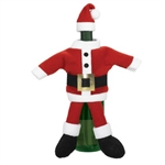 The 2-piece plush red and white fabric Santa suit includes coat and hat and transforms any ordinary bottle of wine into a conversation piece. Simply slide pieces over bottle to dress. Perfect for hostess gifts or holiday table decorating! One set per pkg.