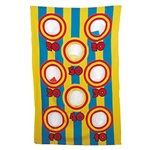 The Canvas Bean Bag Toss Game is a classic carnival game that tests your throwing skill. Simply hang the cloth game board, and toss the bean bags into the numbered holes. The contestant with the most points wins the prize!