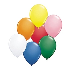 Assorted Color Latex Balloons (6/pkg) are perfect for any party! Bright colors will call attention to your party or event. Helium quality latex balloons are packaged six bright assorted colors in each package. Inflates to 11 inches.