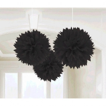 Jet Black Fluffy Tissue Decoration
