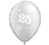 Celebrate the 25 year milestone with these latex printed balloons. Each package contains six balloons. A silver background printed with white number twenty-fives decorate these latex balloons.