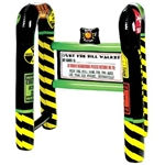 "The Over the Hill Inflatable Walker is black with bright accents of yellow, green, and red. It has comical sayings such as Caution Slow&Old Zone. It measures 31 ½"" H x 36"" W x 21 ½"" D. It has a panic button that squeaks. One per package. No returns."