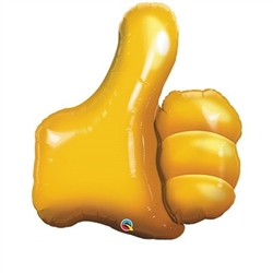 "Thumbs Up Emoji Balloon 35"" is a huge foil balloon in the shape of the thumbs-up signal. Golden yellow in color, fill this balloon with helium for the ultimate sign approval. One per package."
