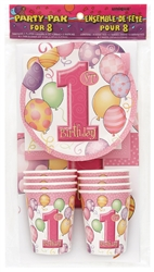 The 1st Birthday Party Pak for 8 - Pink will make decorating for that special little girl's 1st birthday oh so easy! Pack includes 8 cups, 8 dessert plates, 8 napkins and a tablecover! All printed in a pink color scheme with 1st Birthday.