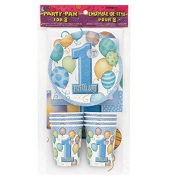 1st Birthday Party Pak for 8 - Blue makes planning that important first birthday oh so easy! Pack includes 8 cups, 8 dessert plates, 8 napkins and a tablecover! The light blue color scheme includes the 1st Birthday designation too! Also available in pink!