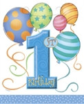 Blue 1st Birthday Loot Bags (8/pkg)