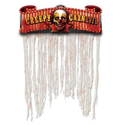 "Decorate your Halloween party entrance with the Creepy Carnival Door Curtain. Printed on heavy card board stock, a scary clown face is centered between the phrase ""Creep Carnevil"". Blood spattered streamers hang down to give a macabre appearance."