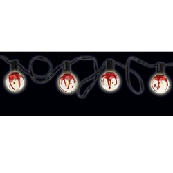 The Bloody Globe String Lights feature ten glass globes decorated with fake blood strung on an eleven foot UL rated electric cord. Use indoors or outdoors. Can combine up to nine strands. Add some gore to your Halloween lighting decor!