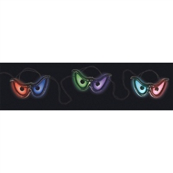 The Spooky Eyes Lights feature 3 pair of eyes that flash in random patterns of color. Give an eerie feel to your Halloween decor by hanging these 45 inch light strands around the area. Requires 3 AA batteries - not included. Use indoors or out!