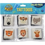 The Wild Zoo Animal Tattoos include 6 different animal designs, a giraffe, tiger, lion, elephant, zebra, and a bear. Contains 144 tattoos per package. Application instructions included. Ages 3 and Up.