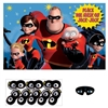 The Incredibles Party Game is made of cardstock and measures 24 1/2 inches by 37 1/2 inches. Each package includes 1 poster, 8 stickers, and 1 paper blindfold. For 2-8 players. See who can get closest to placing the mask on Jack-Jacks face!