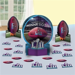 The Super Bowl 52 Table Decorating Kit contains 1 large centerpiece- 12 1/2 inches, 2 small centerpieces- 7 inches, and 20 pieces of confetti- 2 inches. Made of cardstock. Easily assembled.