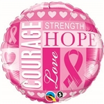 Our Breast Cancer Inspirations Balloon is a mixture of light and dark pinks, displaying inspirational sayings of courage, strength, hope, and love. This 18 inch round foil balloon comes 1 per package, and you will need to inflate for use.