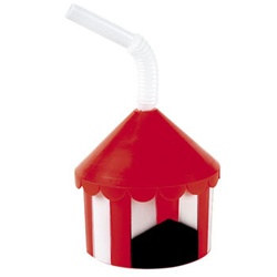 Plastic Big Top Cup with Straw