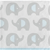 The Little Peanut Blue Beverage Napkins feature an all-over design of adorable little elephants. They will protect your tables or serve up appetizers at your baby shower. These 2-ply paper napkins feature a grey, blue, and white color scheme. 16 per pkg.