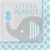 The Little Peanut Blue Luncheon Napkins will help keep your guests clean at the baby shower. These 2-ply paper napkins feature an adorable little elephant printed against a background of grey, blue, and white. Sixteen napkins per package.