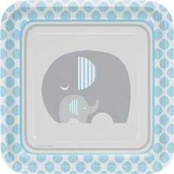 The Little Peanut Blue Dinner Plates will serve your baby shower guests in style. Featuring two adorable elephants and a color scheme of blue, grey, and white these 9-inch square plates are made of coated paper. Eight plates per package.