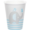 The Little Peanut Blue Hot/Cold Cups will serve refreshments to your baby shower guests in style. Holding 9 ounces of liquid, these adorable cups are printed with a little grey elephant against a color scheme of grey, blue, and white. Eight per package.
