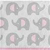 The Little Peanut Pink Beverage Napkins are perfect to slide under beverages, or serve finger food to your baby shower guests. Printed in a grey, pink, and white color scheme the 2-play paper napkins feature an all-over print of elephants. 16 per package.