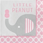 The Little Peanut Pink Luncheon Napkins will help create the perfect place setting for your baby shower guests. Each 2-ply paper napkin features a grey elephant and the phrase Little Peanut written in pink lettering. Sixteen per package.